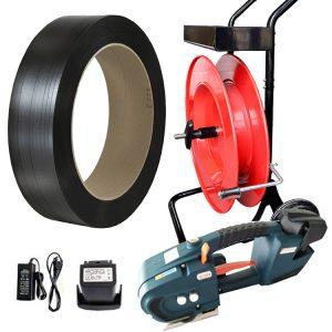 Akkumulátoros pántológép TES készlet PP pántszalag + adagoló + akkumulátor + töltő